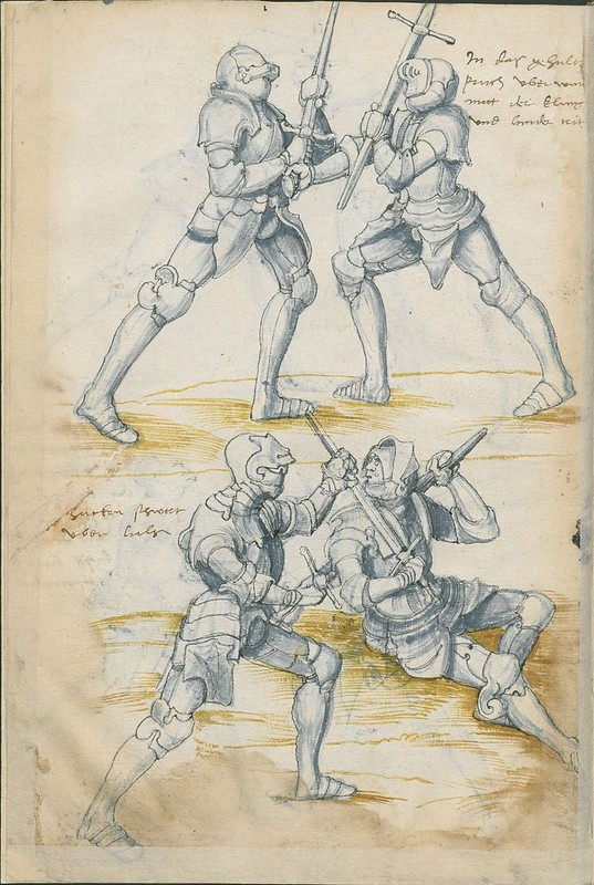 16th century sword fight manuscript drawing - Combat Knights 4