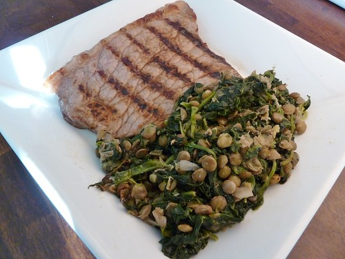 Steak with Syrian Spinach & Lentils