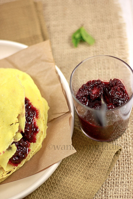Blackberry compote with gluten free vegan crepes