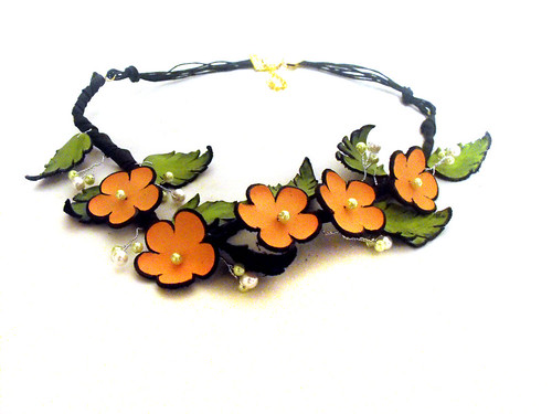 Statement necklace Leather necklace with tangerine flowers