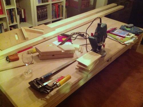 Werktafel in de living