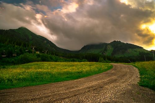road flowers sky mountain green clouds way landscape outdoor wiese himmel wolken berge grün landschaft steiermark styria präbichl eisenstrase sonyilce7 sel2470z