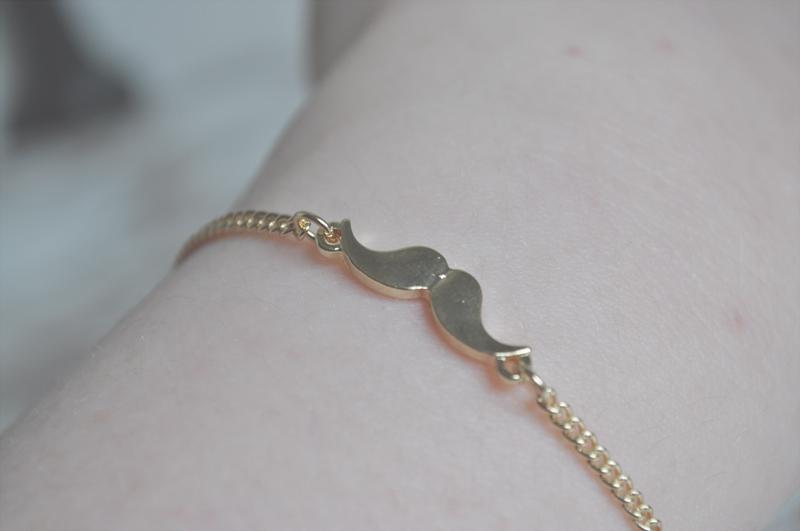 asos moustache bracelet gold