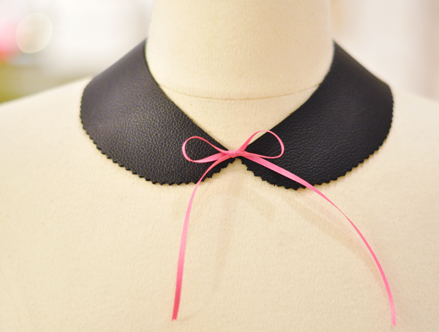 diy leather peter pan  collar  necklace with pink bow