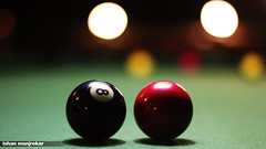 recreation(0.0), cue stick(0.0), carom billiards(0.0), indoor games and sports(1.0), snooker(1.0), sports(1.0), nine-ball(1.0), pool(1.0), games(1.0), billiard ball(1.0), eight ball(1.0), english billiards(1.0), ball(1.0), cue sports(1.0),