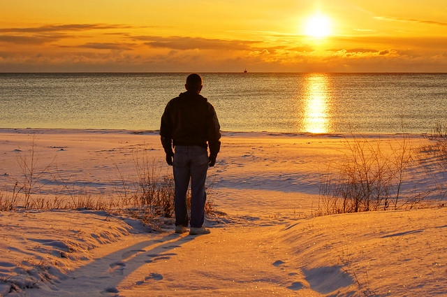 Sunrise, Snow, Winter, Cold, Lake Michigan, Beach