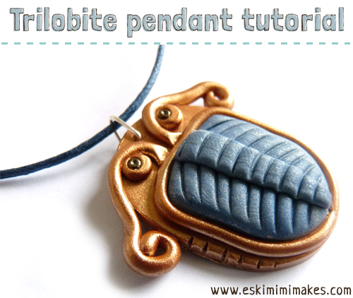 Fo trilobite fossil pendant with tutorial mimi codd polymer clay necklace tutorial trilobite aloadofball Images