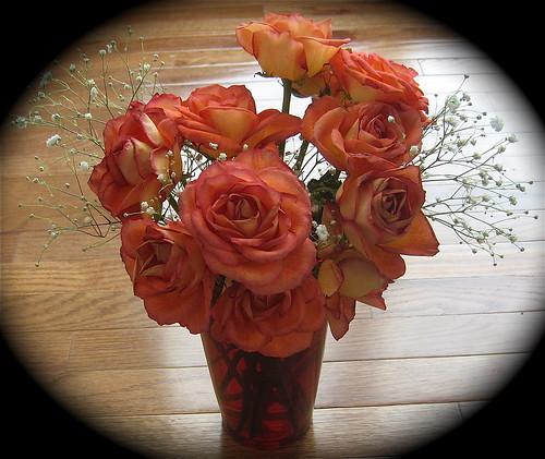 Orange Roses in Orange Vase