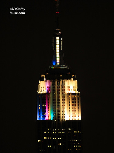 Rainbow colors: Empire State Building putting on a light show11!