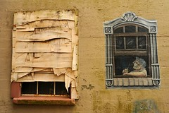 Boarded up window, woman knitting at the architectural window, wall mural, alley, Aberdeen, Gray's Harbor, Washington, USA