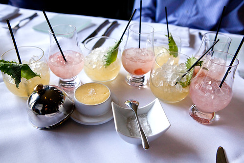 A crowd of refreshing Shiso Bombs and Gunner summer cocktails