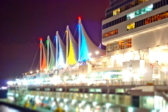The Sails at night