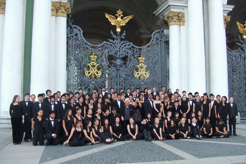 El Camino Youth Symphony in front of the Winter Palace in St. Petersburg