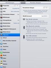 Persönlicher Hotspot (Apple iPad): Ausgeschaltet