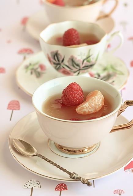 Mandarin & Jasmine Tea Cup Jellies with Raspberries | Flickr - Photo ...