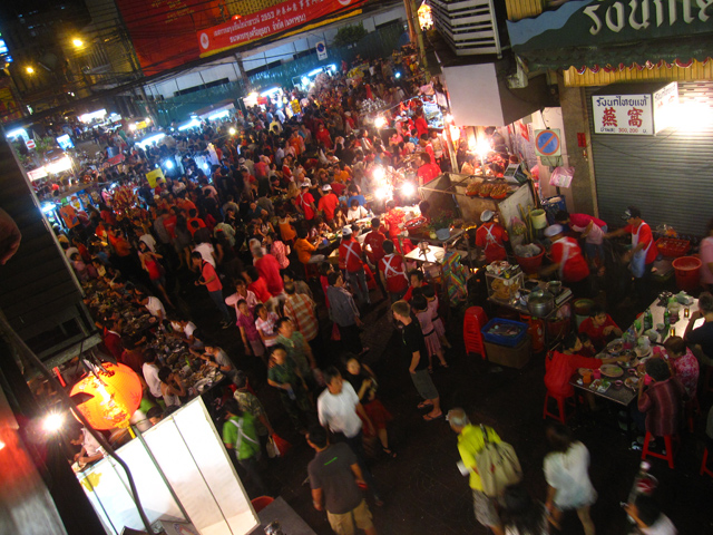Busy Chinatown on Chinese New Years in Bangkok