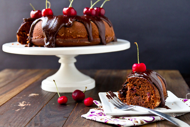 Roasted Cherry Chocolate Cake