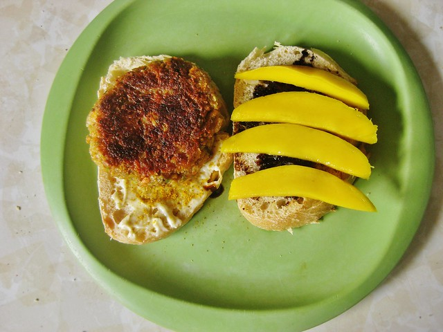 Chickpea Burger and Mango