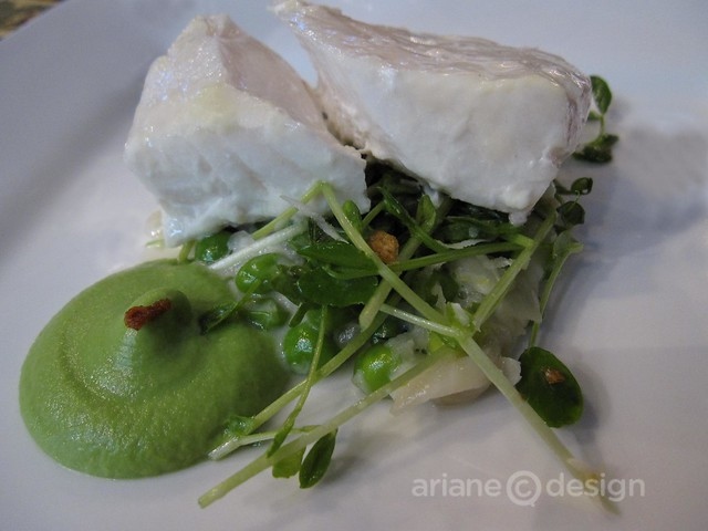 Slow Baked BC Halibut, English Peas, Pea Shoots, Fresh Horseradish