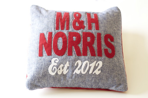 Cushion made for a wedding gift