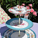Blue and Floral Mismatched cake Stand