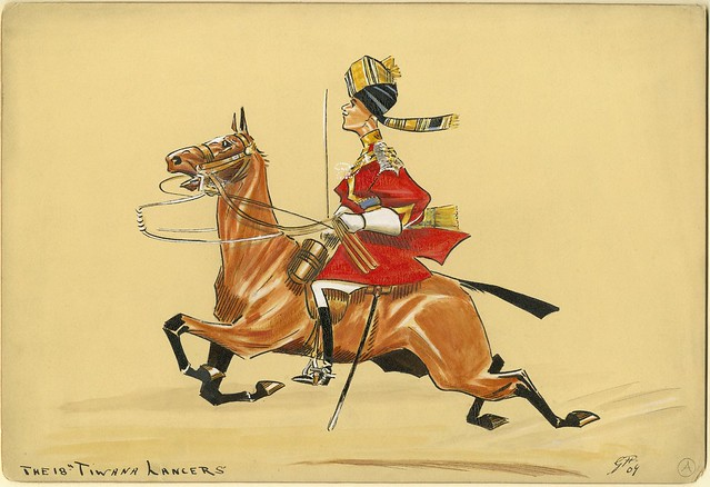 turban-wearing lancer soldier on horseback - caricature / satirical sketch