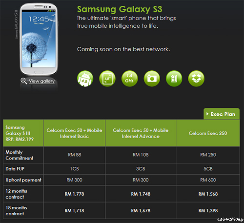 Celcom Samsung Galaxy SIII S3 Package