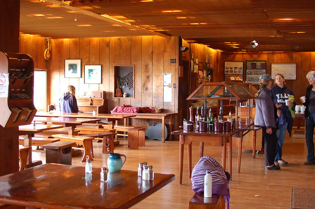 The dining hall at Esalen...