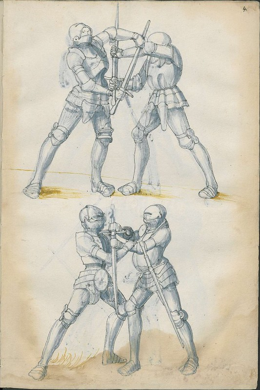 16th century sword fight manuscript drawing - Combat Knights 7