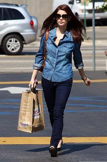 Ashley Greene Denim Shirt Celebrity Style Woman's Fashion