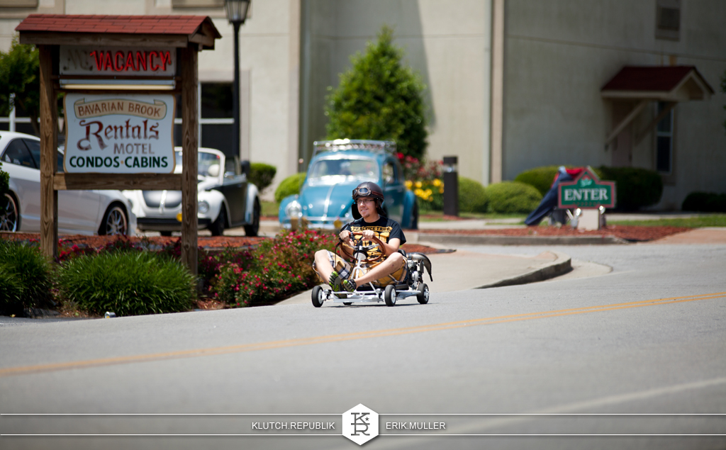 guy riding a homemade go-kart with bride racing seat at southern worthersee 2012