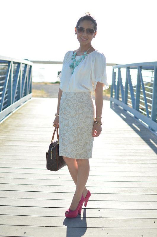 all white outfit with Banana Republic lace skirt, Express dolman top, and colorful accessories and shoes