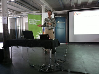 #devaamo2012 Pekka Sarkola speaking on OpenStreetMap and free Geodata #GIS