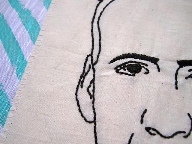 nicolas cage embroidered portrait