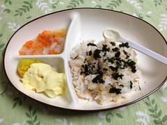 新しいお皿での離乳食 (2012/6/16)