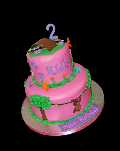 2 tier 2nd birthday cake - jungle scene for a Dora party
