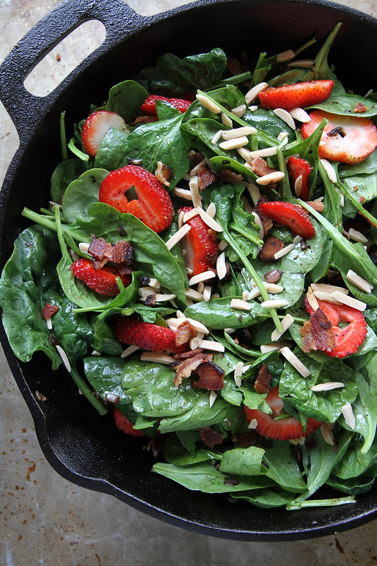 Hot Spinach and Strawberry Salad with Bacon