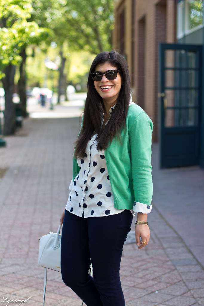 polka dot shirt, green cardigan, navy pants-2.jpg