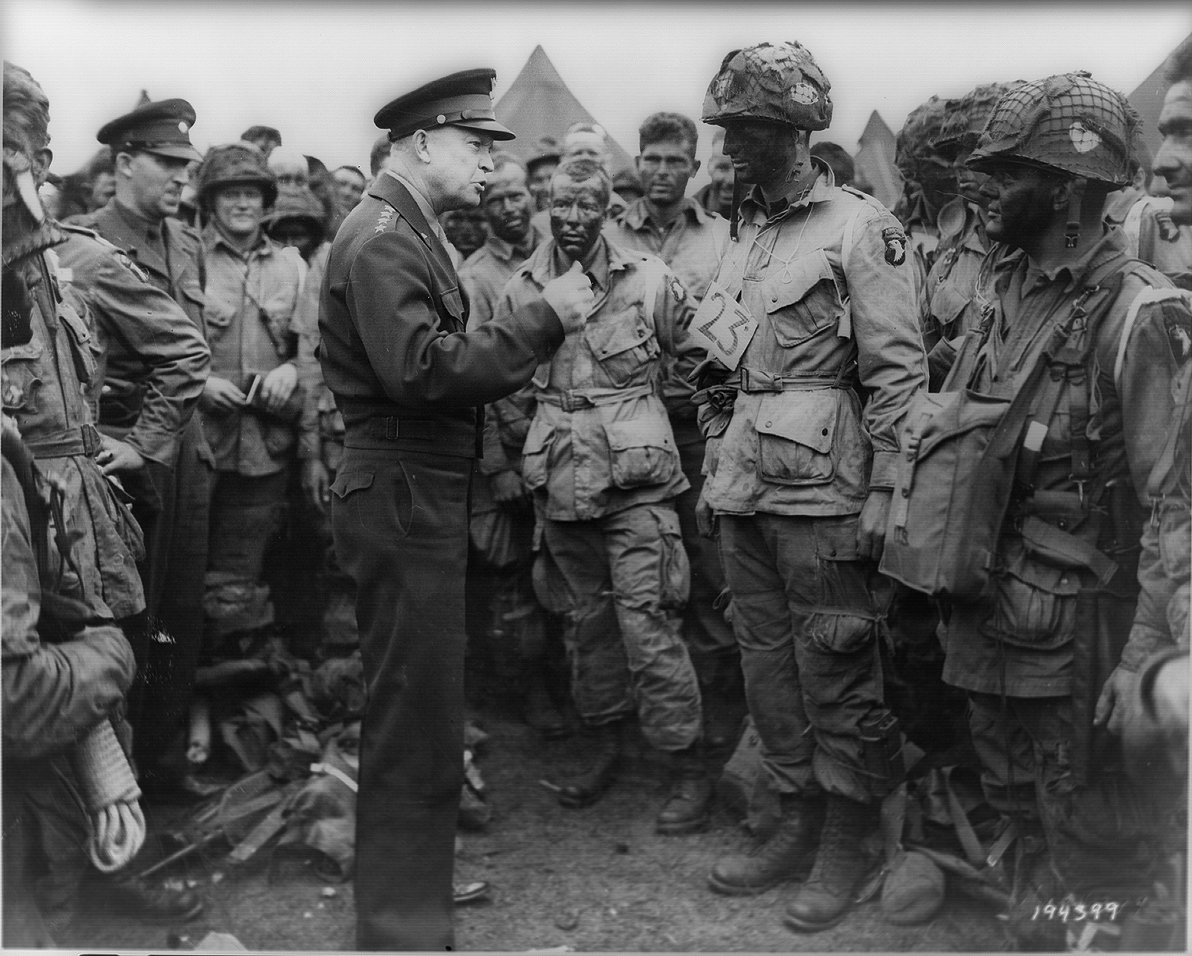General Dwight D. Eisenhower addresses American paratroopers prior to D-Day