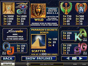 Pharaoh's Secrets Slots Payout