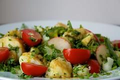 plant(0.0), greek salad(0.0), produce(0.0), meal(1.0), breakfast(1.0), panzanella(1.0), salad(1.0), vegetable(1.0), food(1.0), dish(1.0), cuisine(1.0), potato salad(1.0),