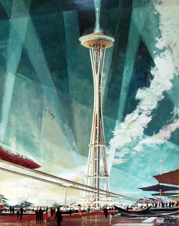 Seattle Space Needle, architectural rendering, Earle Duff, circa 1961, Seattle, Washington, USA (some damage to older image)