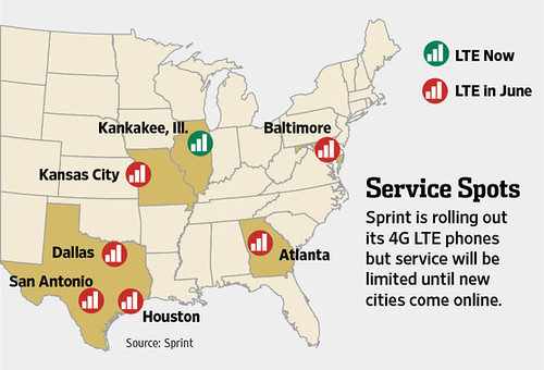 Sprint Launches LTE Dailywirelessorg - Sprint lte coverage map