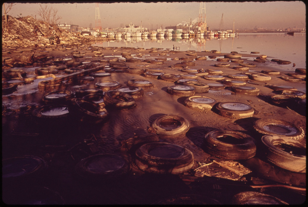 Trash and Old Tires Litter the Shore at the Middle Branch of Baltimore Harbor, 01/1973.