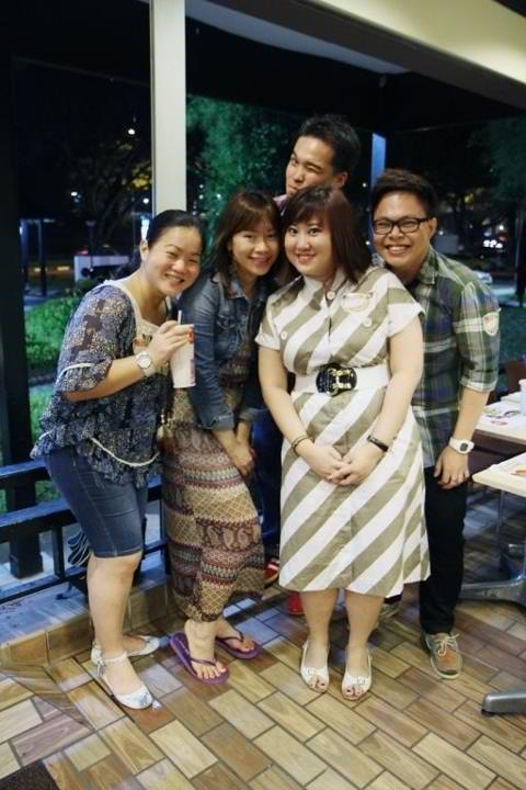 "Here's one of our customers, Grace Tan, wearing GDO from HEAD TO TOE for her birthday! Grace (girl on right) is smiling away here in a vintage striped dress, belt and ""nurse"" shoes from Granny's Day Out.  All her friends loved her outfit. So do we!"