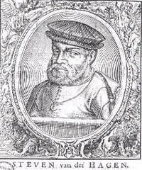 <p>Portret van Stephen van der Haghen afkomstig uit de verzamelband reisverhalen bijeengebracht door drukker Saeghman, (ong. 1663) waarin het verhaal van Van der Hagens tweede reis is beschreven. De afbeelding stelt echter Van der Haghen niet voor!</p>