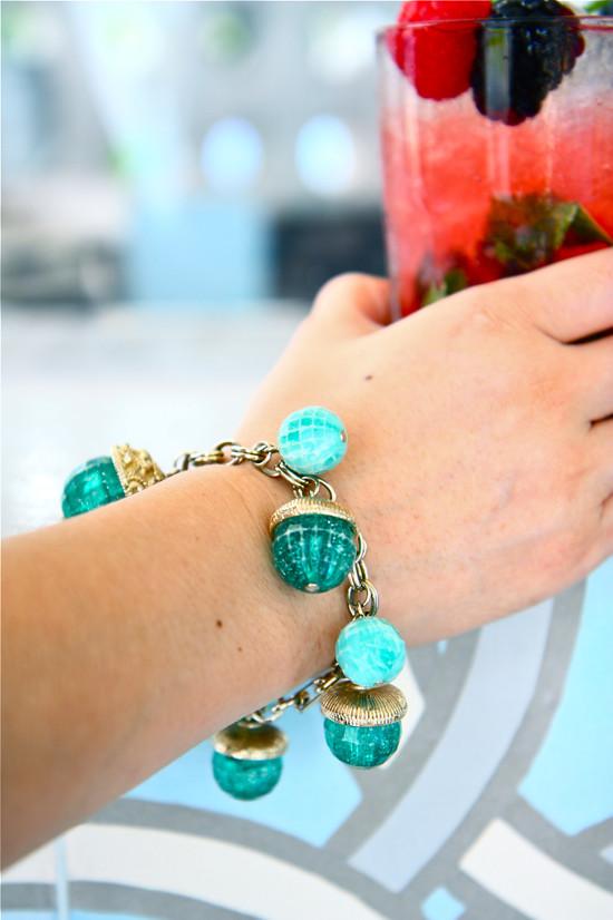 Sea-green beaded bracelet.