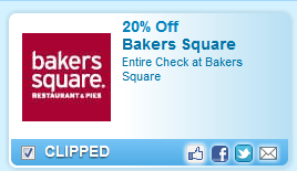 20% Off Entire Check At Bakers Square Coupon