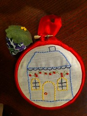 embroidered house plus pin cushion for swapee