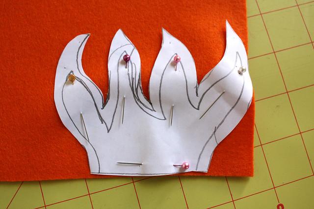 Rocket Pillow - cut flames